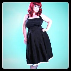 Black Pinup Couture Ginger dress w/white eyelet